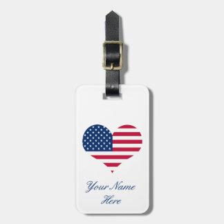 Étiquette À Bagage Coeur américain des Etats-Unis de drapeau de
