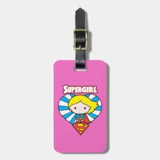 Étiquette À Bagage Coeur et logo de Chibi Supergirl Starburst