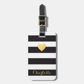 Étiquette À Bagage Coeur rayé personnalisé d'or d'étiquette de bagage