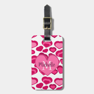 Étiquette À Bagage Coeurs roses mignons avec le monogramme