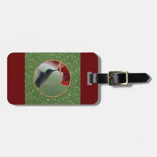 Étiquette À Bagage Colibri au conducteur dans le rond, oiseaux sur