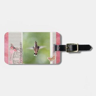 Étiquette À Bagage Colibri extraordinaire de vol, rose, cadre gris