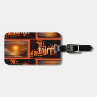 Étiquette À Bagage Collage orange et noir de film de film de cinéma