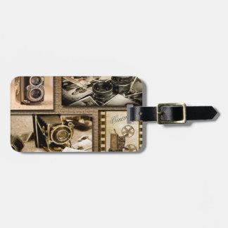 Étiquette À Bagage Collage vintage d'appareil-photo