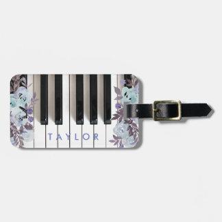 Étiquette À Bagage conception florale bleue de piano