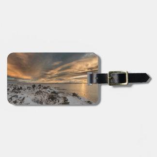 Étiquette À Bagage Coucher du soleil au-dessus de lac Myvatn, Islande