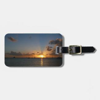 Étiquette À Bagage Coucher du soleil avec la photo tropicale de