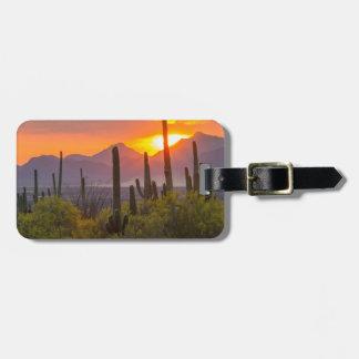Étiquette À Bagage Coucher du soleil de cactus de désert, Arizona