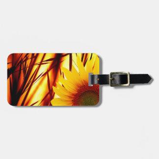 Étiquette À Bagage Coucher du soleil et tournesol