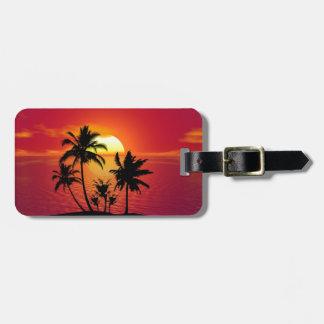 Étiquette À Bagage Coucher du soleil tropical de plage d'été de