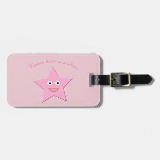 Étiquette À Bagage Coutume assez rose d'étoile