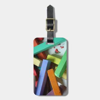 Étiquette À Bagage Craies de pastel d'arc-en-ciel de monogramme de