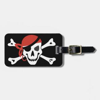 Étiquette À Bagage Crâne de sourire simple de pirate avec votre texte