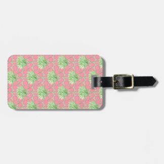 Étiquette À Bagage De palmier de bagage d'étiquette pois de rose
