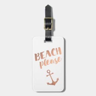 Étiquette À Bagage de plage calligraphie rose d'or svp