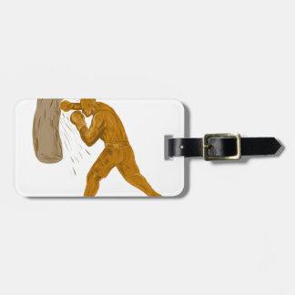 Étiquette À Bagage Dessin de sac de sable à boxeur