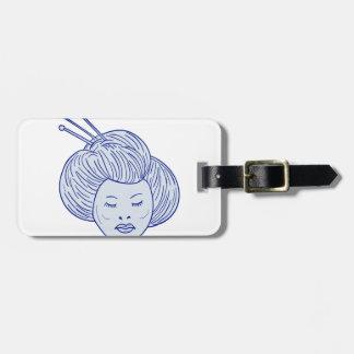 Étiquette À Bagage Dessin de tête de fille de geisha
