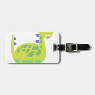 Étiquette À Bagage Dinosaure vert drôle mignon