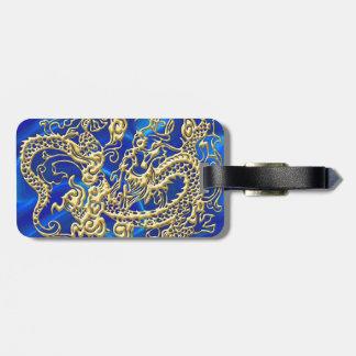 Étiquette À Bagage Dragon de relief d'or