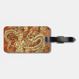 Étiquette À Bagage Dragon de relief d'or sur la copie orange de satin