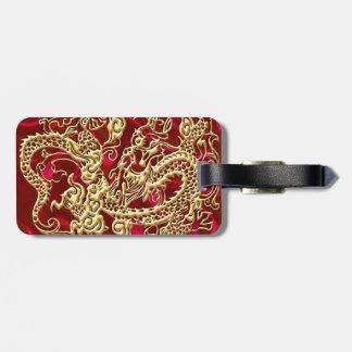 Étiquette À Bagage Dragon de relief d'or sur la copie rouge de satin