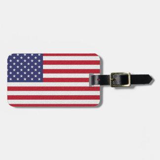 Étiquette À Bagage Drapeau américain et information personnelle