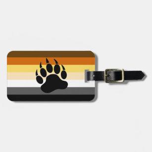 Étiquette À Bagage Drapeau de la fierté de l'ours gris Paw