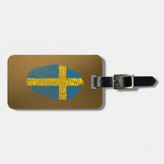 Étiquette À Bagage Drapeau d'empreinte digitale de contact de Suédois