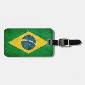 Étiquette À Bagage Drapeau grunge vintage du Brésil