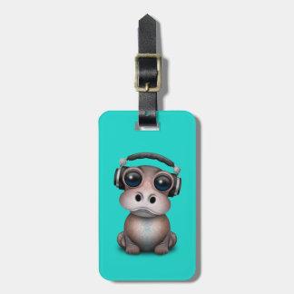 Étiquette À Bagage Écouteurs de port du DJ d'hippopotame mignon de