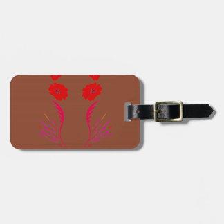 Étiquette À Bagage Éléments de conception rouges sur le brun