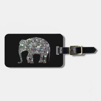 Étiquette À Bagage Éléphant argenté coloré scintillant de mosaïque de
