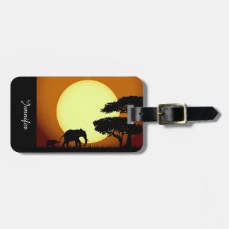 Étiquette À Bagage Éléphants de safari au coucher du soleil