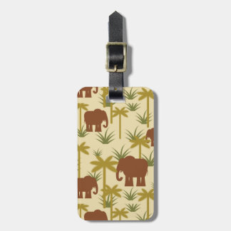 Étiquette À Bagage Éléphants et paumes dans le camouflage