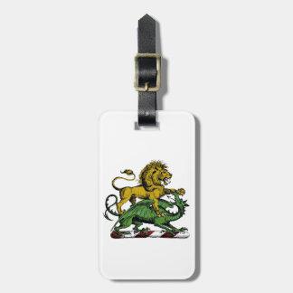 Étiquette À Bagage Emblème héraldique de crête de lion et de dragon