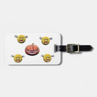 Étiquette À Bagage Émoticône jaune ou smiley de Halloween