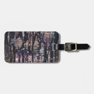 Étiquette À Bagage Étiquette abstraite de bagage de forêt