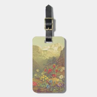 Étiquette À Bagage Étiquette alpine de bagage de fleurs d'aquarelle