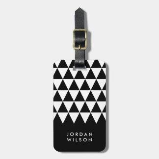 Étiquette À Bagage Étiquette blanche noire minimaliste moderne de