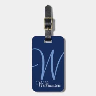 Étiquette À Bagage Étiquette bleue de bagage de manuscrit d'initiale