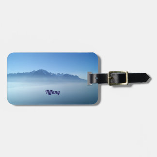 Étiquette À Bagage Étiquette bleue de bagage de paysage