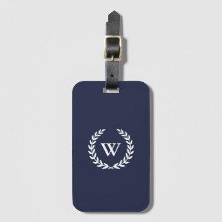 Étiquette À Bagage Étiquette bleue élégante classique de bagage de