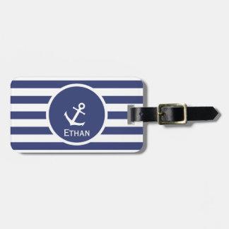 Étiquette À Bagage Étiquette bleue et blanche nautique nommée faite