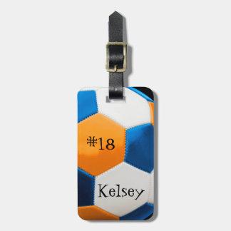 Étiquette À Bagage Étiquette bleue et orange de sac du football