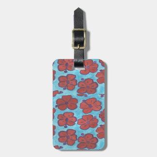 Étiquette À Bagage Étiquette bleue et rouge de bagage de ketmie