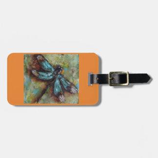 Étiquette À Bagage Étiquette colorée de bagage de libellule