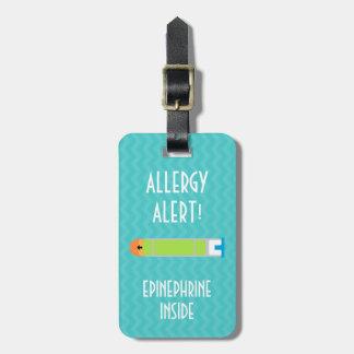 Étiquette À Bagage Étiquette d'alerte d'allergie d'adrénaline pour la