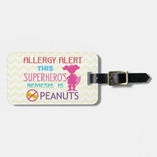Étiquette À Bagage Étiquette d'alerte de super héros d'allergie