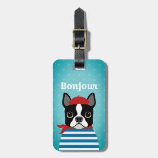 Étiquette À Bagage Étiquette de bagage de Boston Terrier de Français