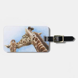 Étiquette À Bagage Étiquette de bagage de girafe et de veau